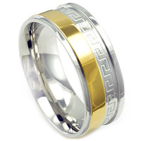 Haden's Stainless Steel Two Toned Polished Design Wedding Band
