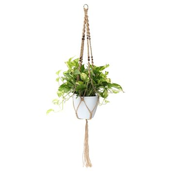 48'' 4 Legs Macrame Plant Hanger Holder Hanging Planter Basket Jute Rope Beads
