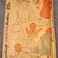 1940s Baby Layette & Christening Dress Sewing Pattern UNCUT FF Simplicity 2656
