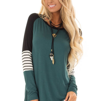 Hunter Green Long Sleeve Top with Color Block Sleeves