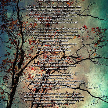 Desiderata Inspiration Over Textured Tree by Christina Rollo