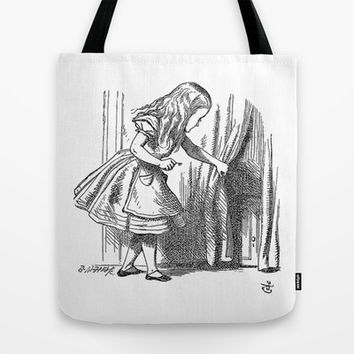 Vintage Alice in Wonderland 'looking for the door' antique book drawing emo goth fantasy gothic Tote Bag by iGallery