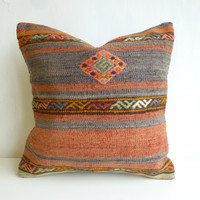 Bohemian Kilim Pillow Cover with Ethnic Pattern