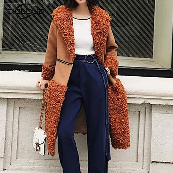 Women Winter Shearling Jackets Coats Fluffy Sheep Faux Fur Coat Jacket Long Outerwear Overcoat Elegant Warm Fashion Streetwear