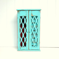 Shabby Flea Market Chic Jewelry Box in Turquoise by speckleddog on Etsy