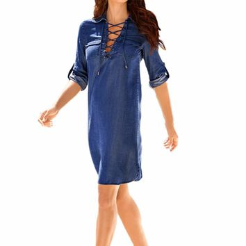Women denim Three-Quarter  Sleeve Turn Down Collar Mini Dress Fashion Lady Summer Dresses