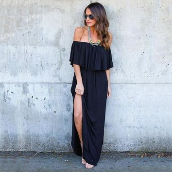 Boho off Shoulder Short Sleeve Ruffle Solid Maxi Dress with Pockets