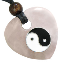 Heart Love Talisman Lucky Ying Yang Rose Quartz Gem Pendant Necklace