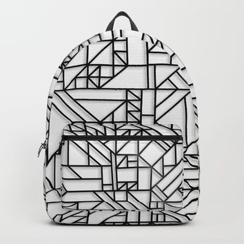 GEOMETRIC BLACK AND WHITE OUTLINES SHAPES MINIMAL MINIMALIST DIGITAL PATTERN Backpacks by AEJ Design