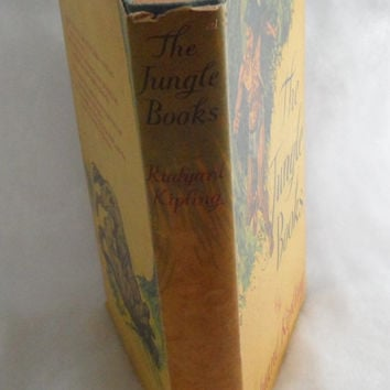 Circa 1955 - THE JUNGLE BOOKS - Rudyard Kipling - Hardcover - Cloth Bound Book - Aged Condition - Jacket Aged from Handling