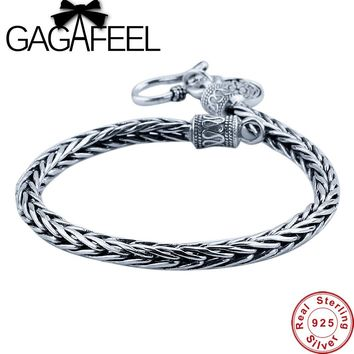 GAGAFEEL Men bracele Genuine 100% Real Pure 925 Sterling Silver dragon bone Men jewelry fine jewelry