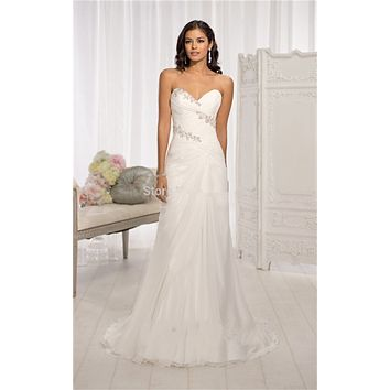 Vestido De Noiva Beaded A-line Chiffon Sweetheart Beach Wedding Dress 2015 Under 100 Cheap Bride Dresses Corset Wedding Gown