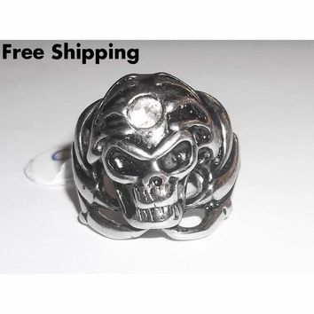 Skull with Talons Cubic Zirconia Biker Goth Rocker Pagan Stainless Steel Ring (size 10)