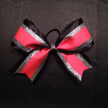 3 inch cheerleader cheer bow neon pink & black