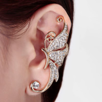 Exaggerated Full Diamond Butterfly Earrings No Pierced Ear Clip Earrings Elf Ear Earrings