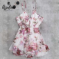 AZULINA 2017 Summer Holiday Floral Print Women Romper Jumpsuit Sexy Flower Chiffon Cami Strap Beach Romper Playsuit Overalls