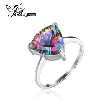 JewelrtPalace Triangle 4ct Genuine Rainbow Fire Mystic Topaz Ring Solid 925 Sterling Silver Engagement Ring 2016 Vintage Jewelry