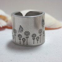 Flowers and Butterflies Hand Stamp Ring