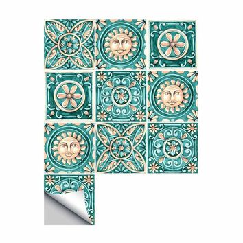 Self Adhesive Wall decal Italy Majolica Tiles Bathroom Furniture Waterproof Kitchen Easy to Clean DIY Stickers