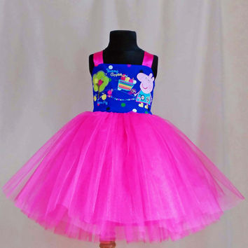 Soft Pink Polkadot Peppa Pig Birthday Dress, Peppa Pig Dress, Peppa Pig Tutu, Peppa Pig Outfit