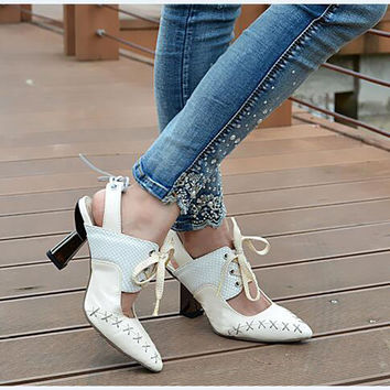 Top Selling Genuine Leather Pointed Toe Pumps Patchwork Lace Up High Heel Mules Spring Autumn Wedding Party Dress Shoes Women