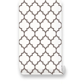 Moroccan Brown PEEL & STICK REPOSITIONABLE Fabric Wallpaper