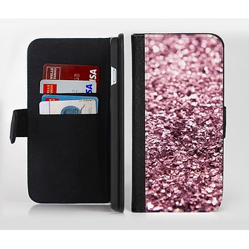 The Subtle Pink Glimmer Ink-Fuzed Leather Folding Wallet Credit-Card Case for the Apple iPhone 6/6s, 6/6s Plus, 5/5s and 5c