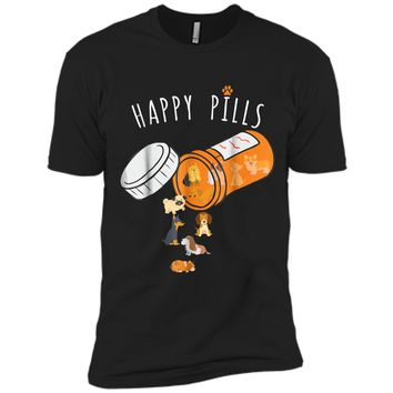 Happy Pills  Funny Gift  for Dog Lover Next Level Premium Short Sleeve Tee