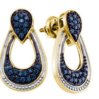 Blue Diamond Fashion Earrings in Gold-plated silver 0.68 ctw