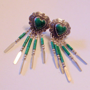 Vintage Green Navajo Zuni Earrings - Sterling Love Heart - Posts - SALE - Dangle - Native American Sweetheart  Signed Hallmarked .925