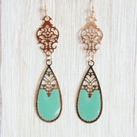 Aqua Henna Pattern Dangle Earrings