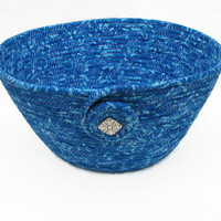 Blue Coiled Fabric Bowl, Basket