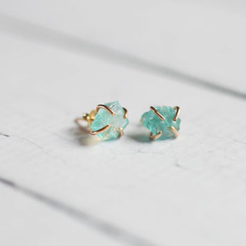 Apatite Crystal Stud Goldfilled Earrings