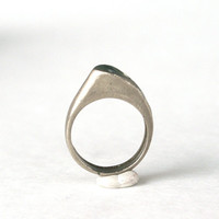 Abstract Modernist Ring Geometric Silver Tone with Green Enamel Size 6