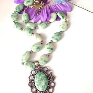 Tree Agate   Necklace ,Vintage Style ,Pendant Necklace  ,Handmade Cameo style Necklace ,Lyrisgems