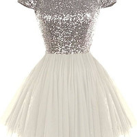 Silver Homecoming Dress, Cap Sleeve Sequins Homecoming Dresses, Party Dress