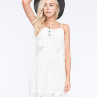 Flying Tomato Crochet Popover Dress White  In Sizes