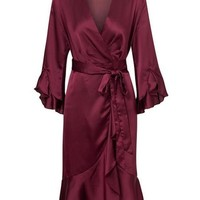 Satin Wrap Flowy Dress - Burgundy