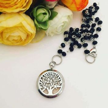 Silver Rosary Bead Chain Aroma Locket Necklace