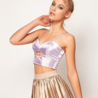 Lashes Of London Metallic Bralet with Cut Out at asos.com