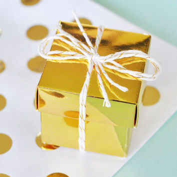 Favor Boxes Gold - Wedding Favors Birthday Party Favor Mini Box - DIY Wedding Bridal Shower Baby Shower Supplies