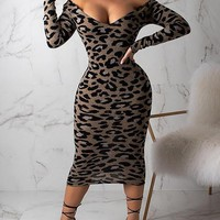 New Leopard Print Off Shoulder Bodycon Long Sleeve Party Maxi Dress
