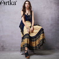 Artka Women's Bohemian Style Ankle-length Skirt Ruffles Decoration Vintage Printed Romantic Skirt  QA14150C