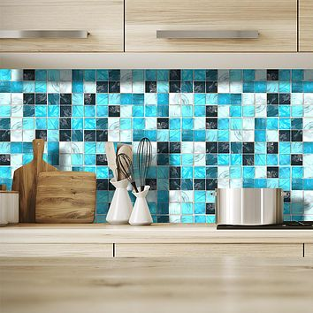 Fashion Blue Square Grid Pattern PVC Waterproof Self-adhesive Wall Stickers - Plane Wall Stickers Transportation / Landscape Study Room / Office / Dining Room / Kitchen