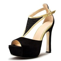 Nine Seven Womens Suede Peep Toe Ankle-strap High Heel Handmade Sandal with Rhinestones