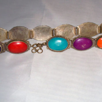 Vintage Silver Concho Belt Colorful Stones Turquoise Purple Orange Green Red Yellow Guatemalan Mexican Boho Hippie