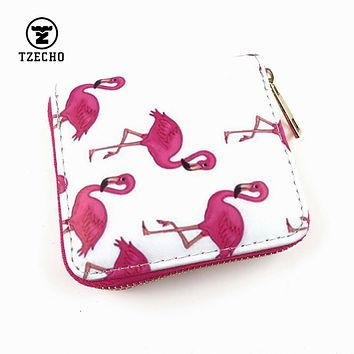 TZECHO Zipper Around Womens Wallets Leather Print Flamingo Girls Short Money Purses Mini Coin Pocket Small Card Holder Bag