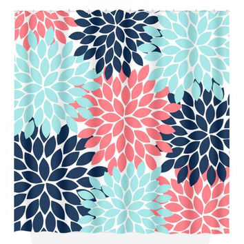 Coral Navy Aqua SHOWER CURTAIN, Flower Burst Petals, Custom MONOGRAM Personalized, Bathroom Decor, Beach Towel, Plush Bath Mat