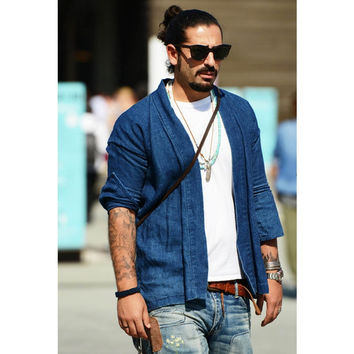 Kimono shirts men fashion designer cool men japanese clothes streetwear casual kanye west Kimonos robe shirt denim blue black