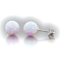 Lorraine: 8mm Fiery White Created Opal Ball Stud Post Earrings, 925 Sterling Silver